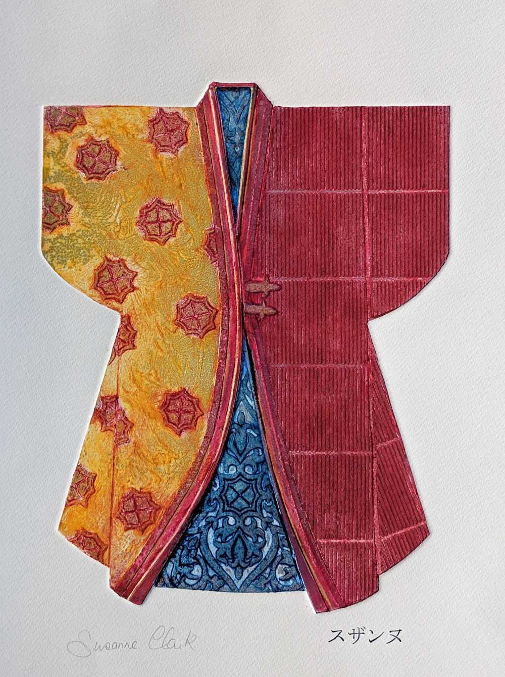Kimono in red and blue fzzv5n
