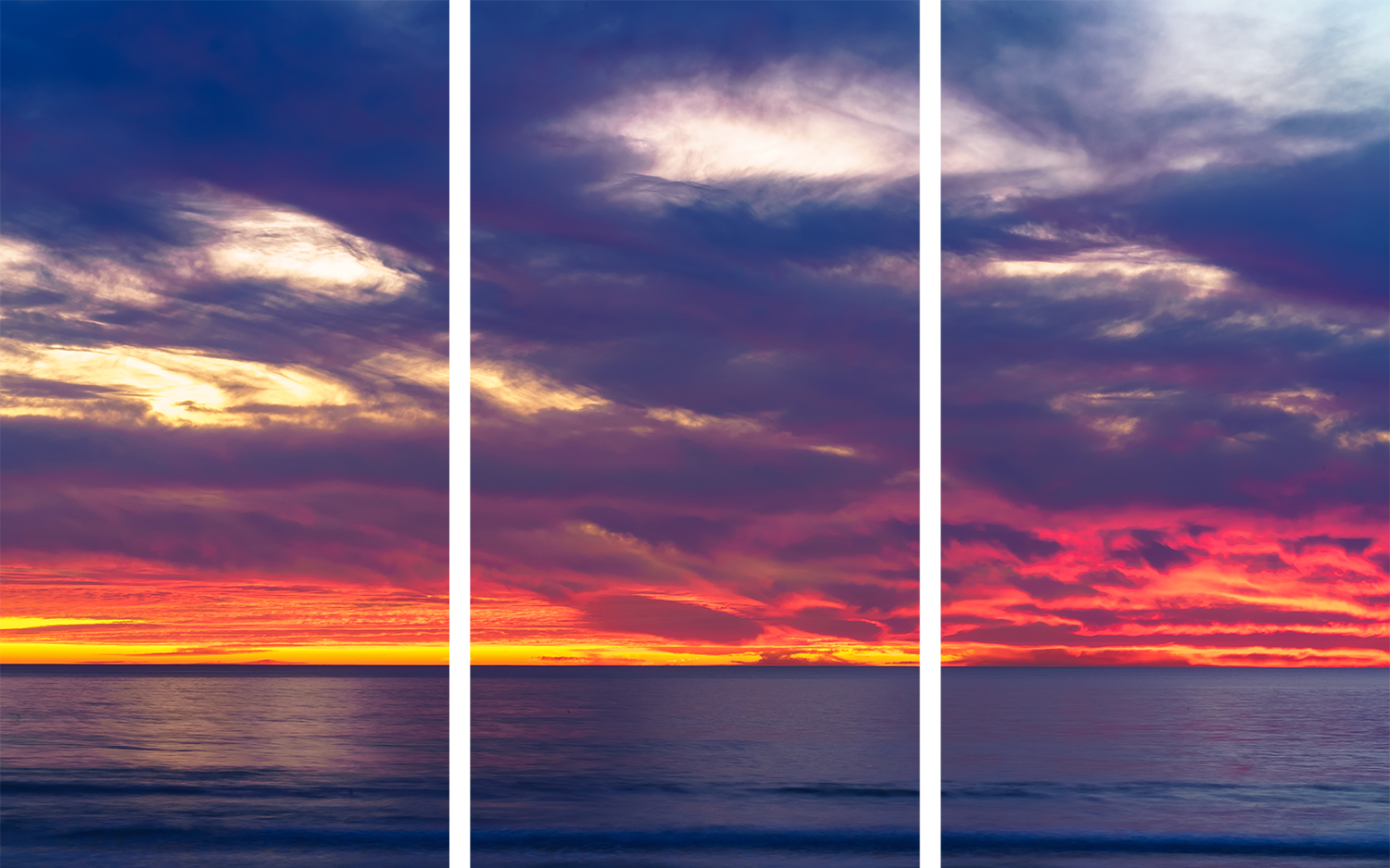 Pacific beach fire triptych zeabcj