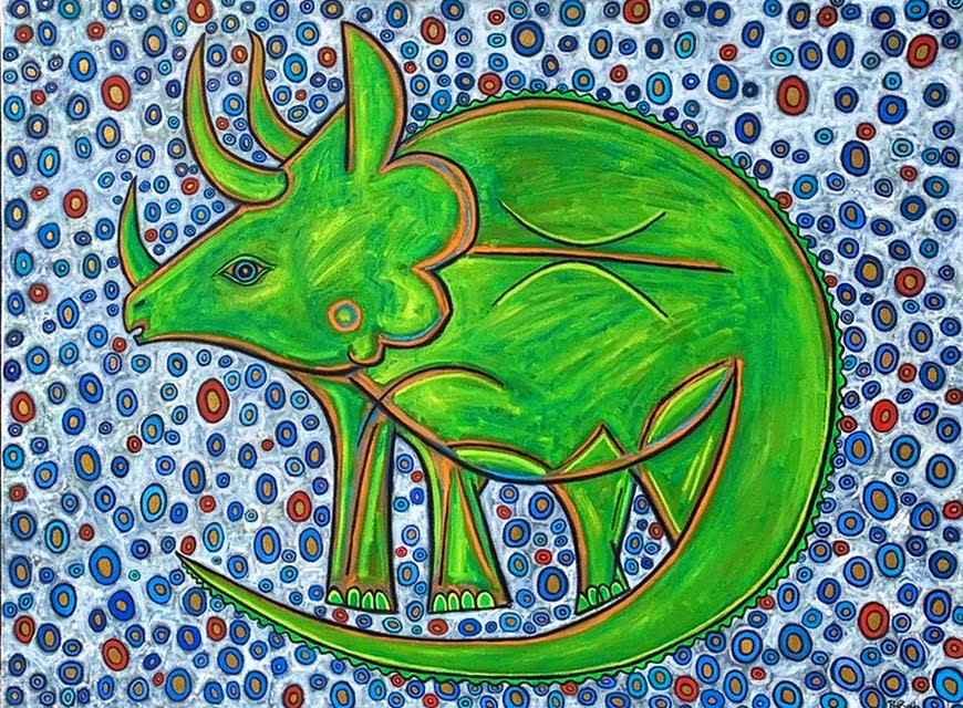 Triceratops painting artist paul zepeda p3jrvw
