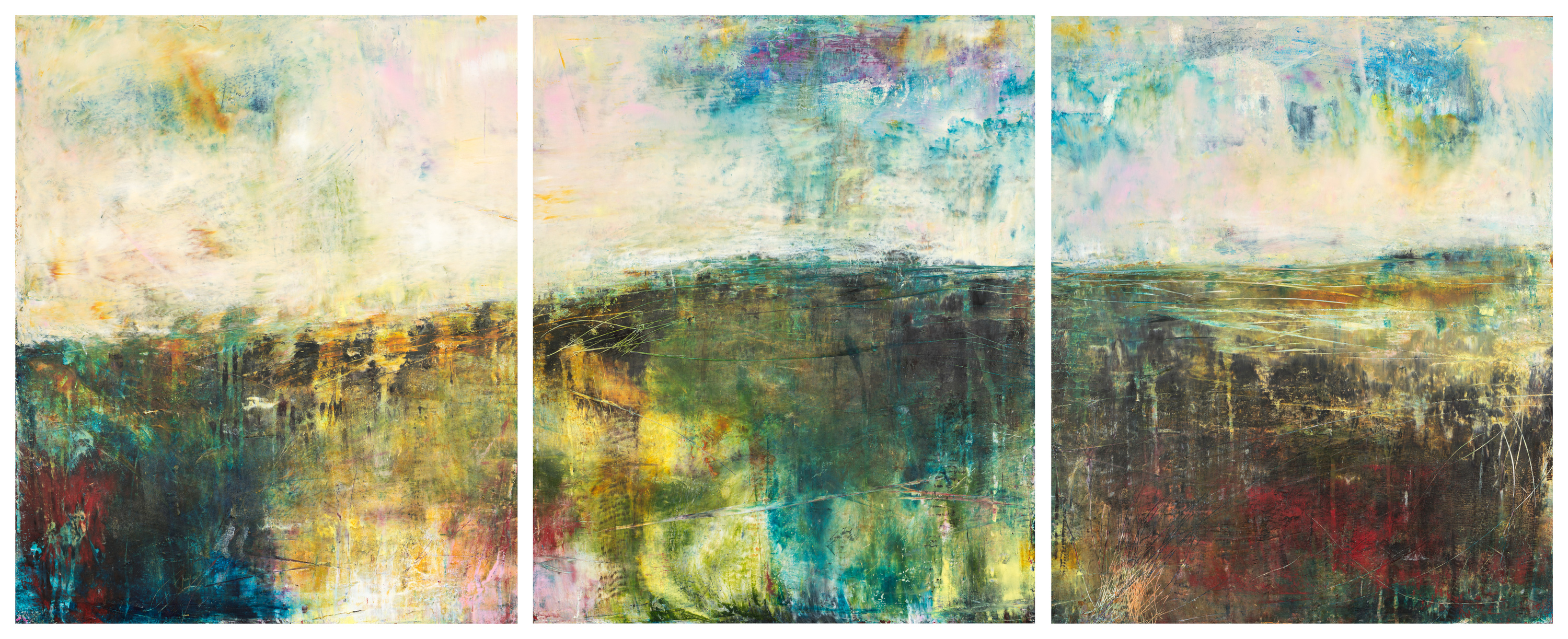 Eadaoin glynn 2019 land triptych oil cold wax on cradled panel 60x150cm gaps hires ocone3