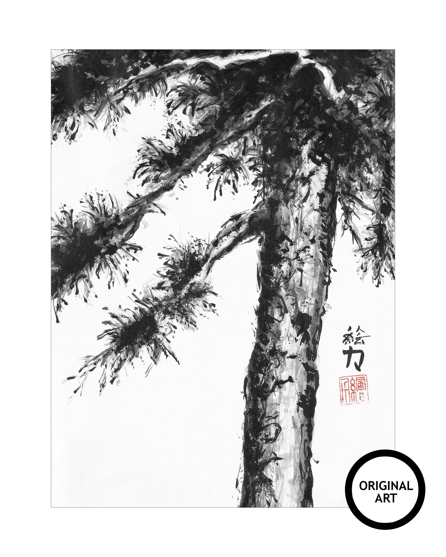 Hombretheartist sumie pinetree 8 original art 073120 shrxss