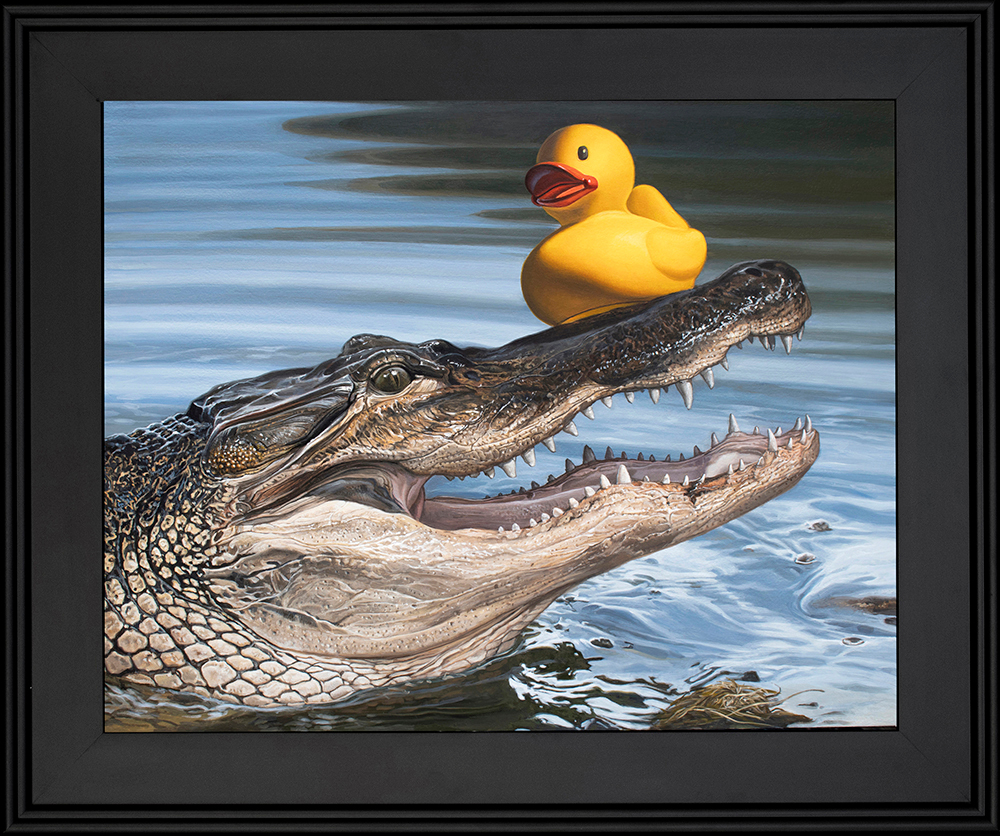 Kevin grass sitting duck black frame acrylic on aluminum panel painting glq97m