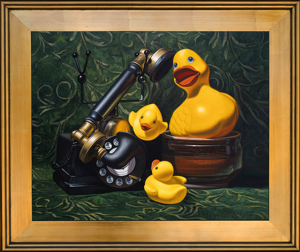 Kevin grass duck call gold frame acrylic on aluminum panel painting ylawuw