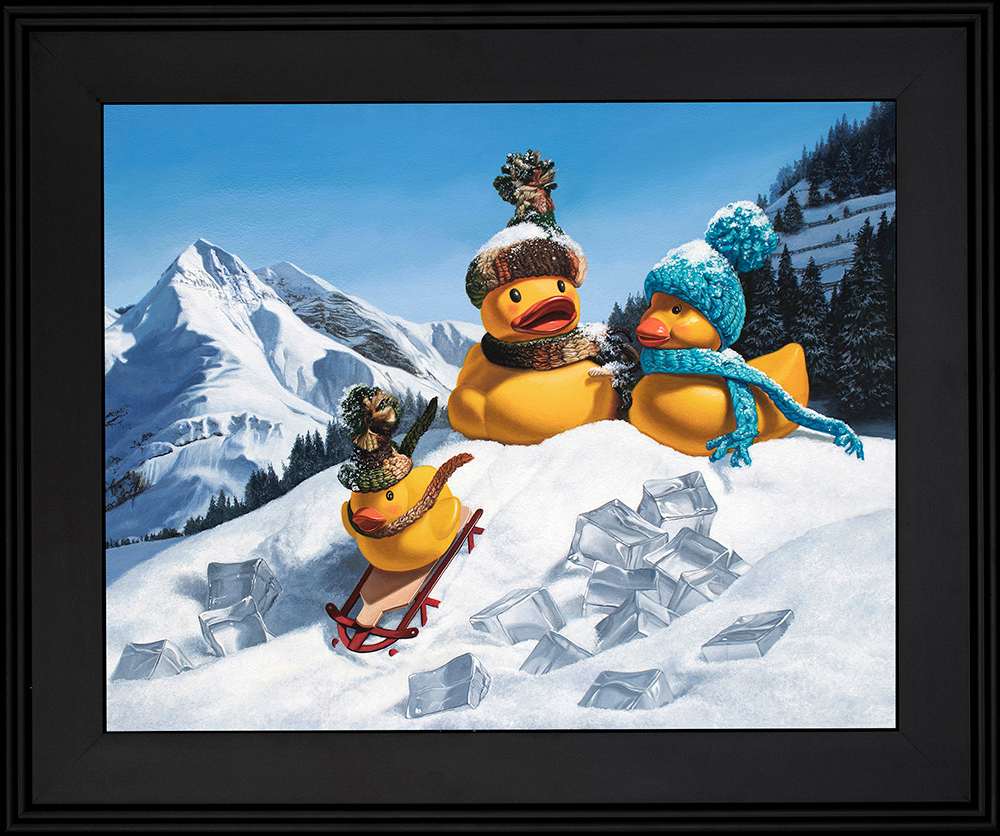 Kevin grass cold duck black frame acrylic on aluminum panel painting nu4ere
