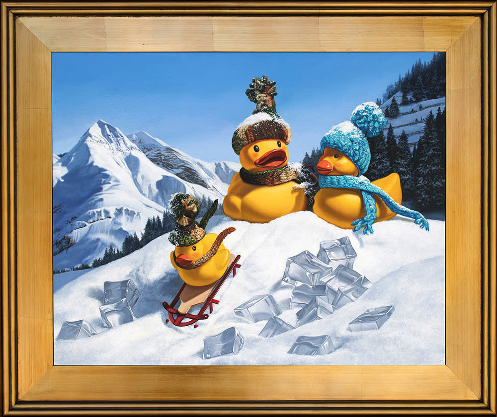 Kevin grass cold duck gold frame acrylic on aluminum panel painting p2yipg