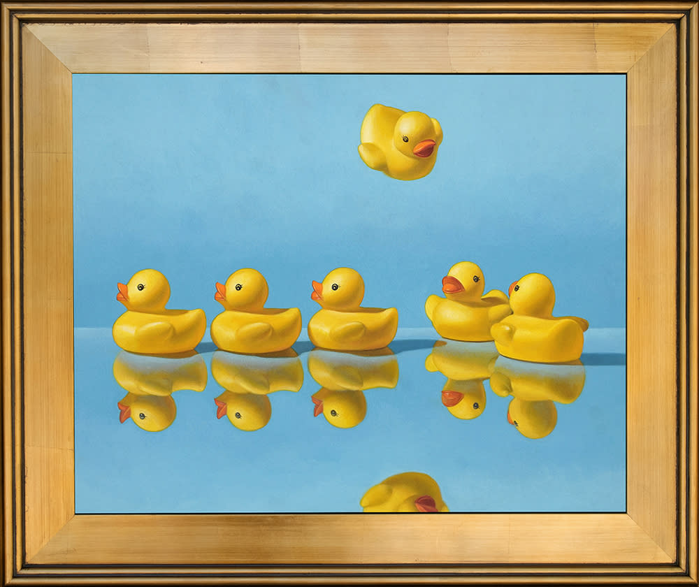 Kevin grass getting all your ducks in a row gold frame acrylic on aluminum panel painting mb85sz