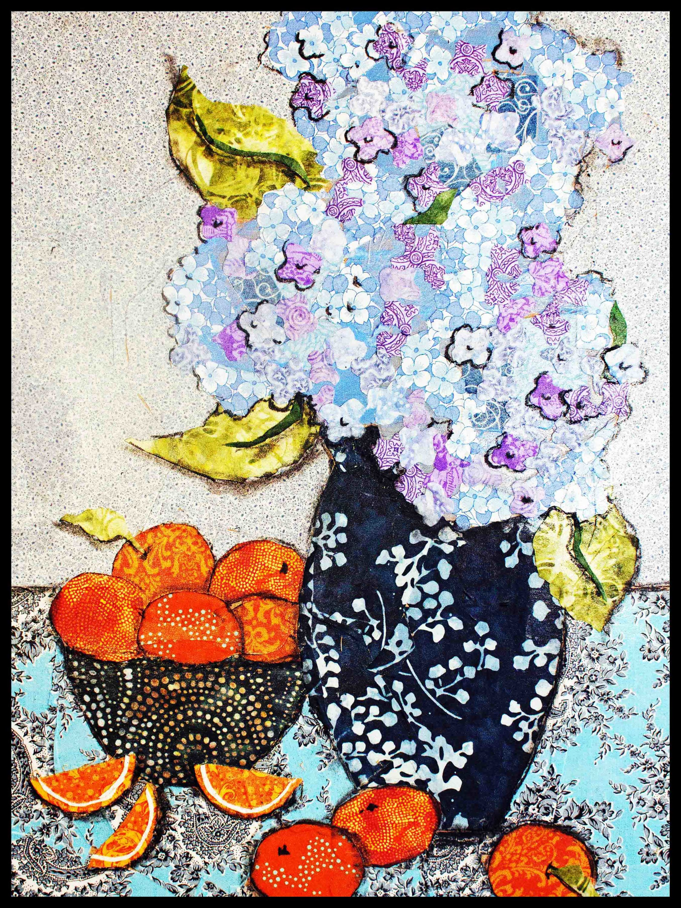Hydrangea and oranges r framed qleppu