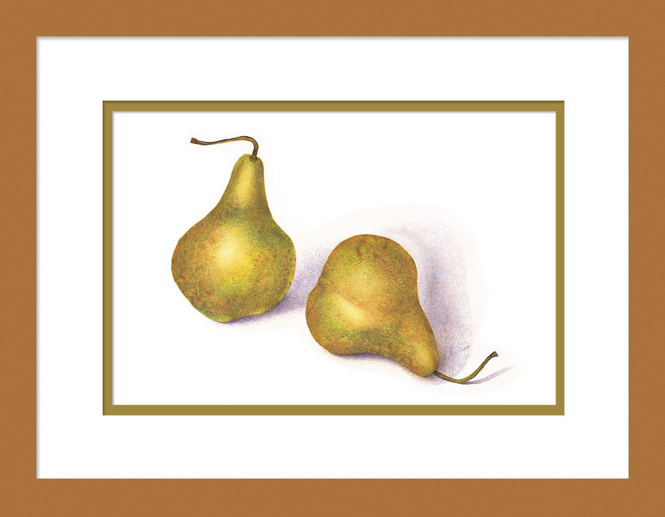 030501 green pears 2 8x12 framed to 12x16 megdek
