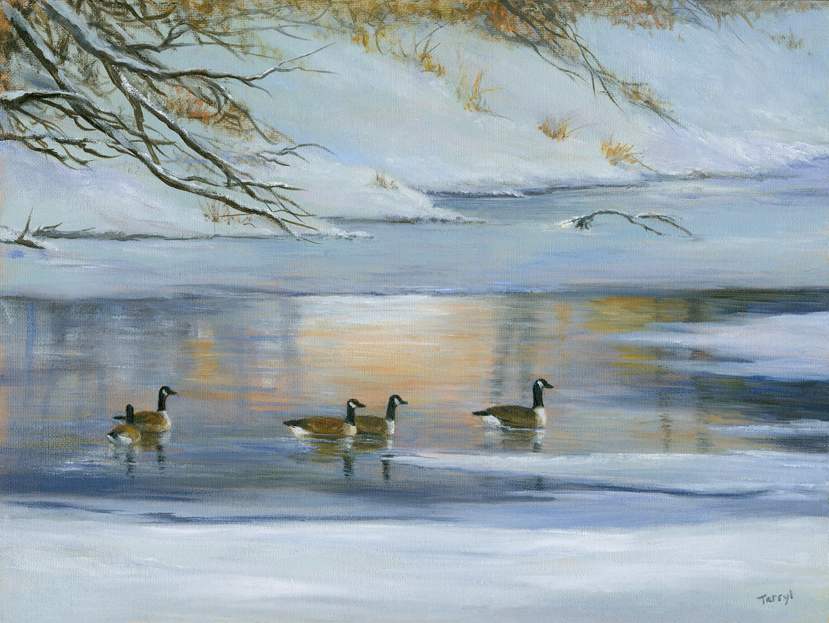 Geese.river.winter9x12 ntgcz2