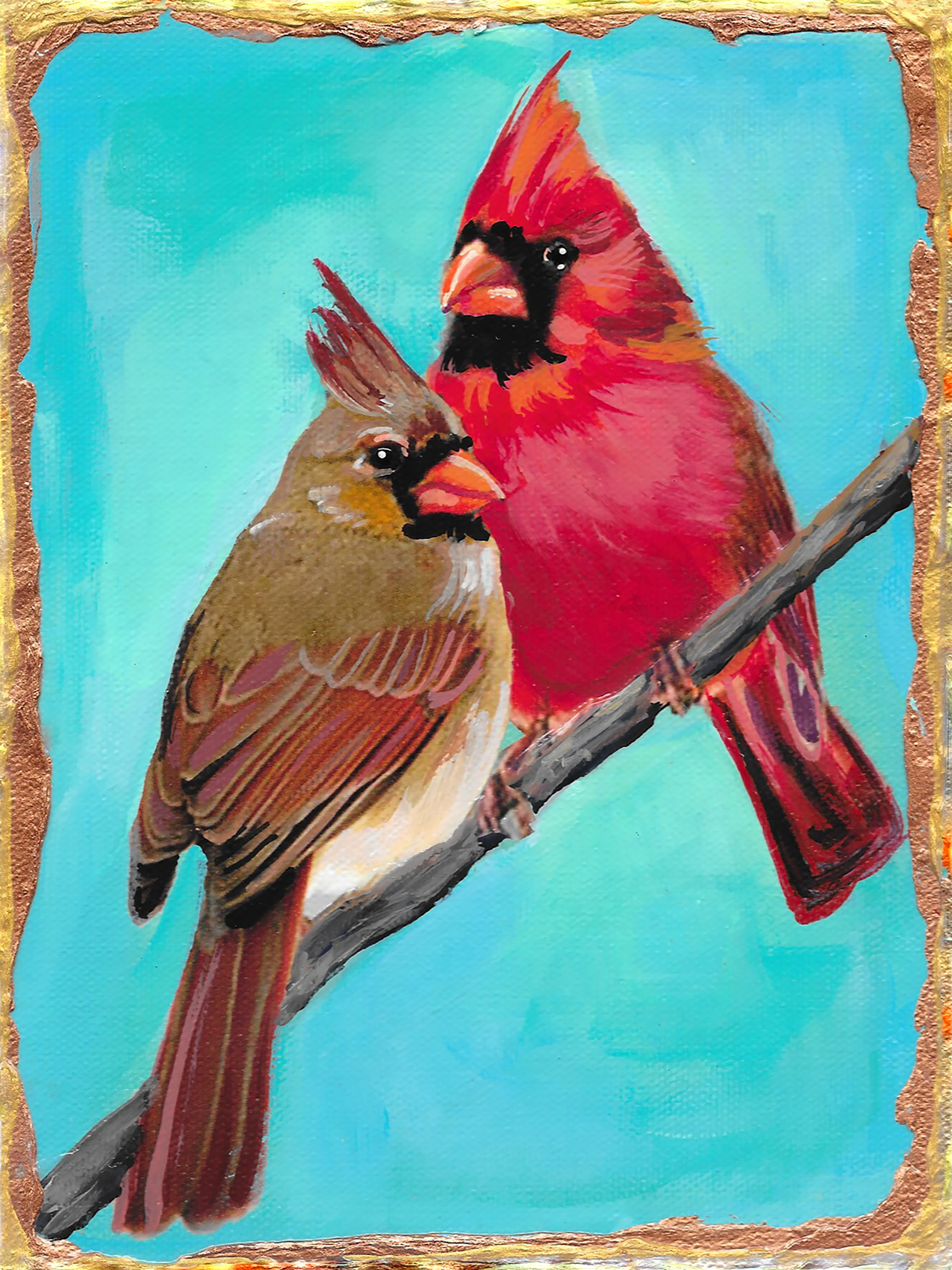Male and female cardinals o0ehck