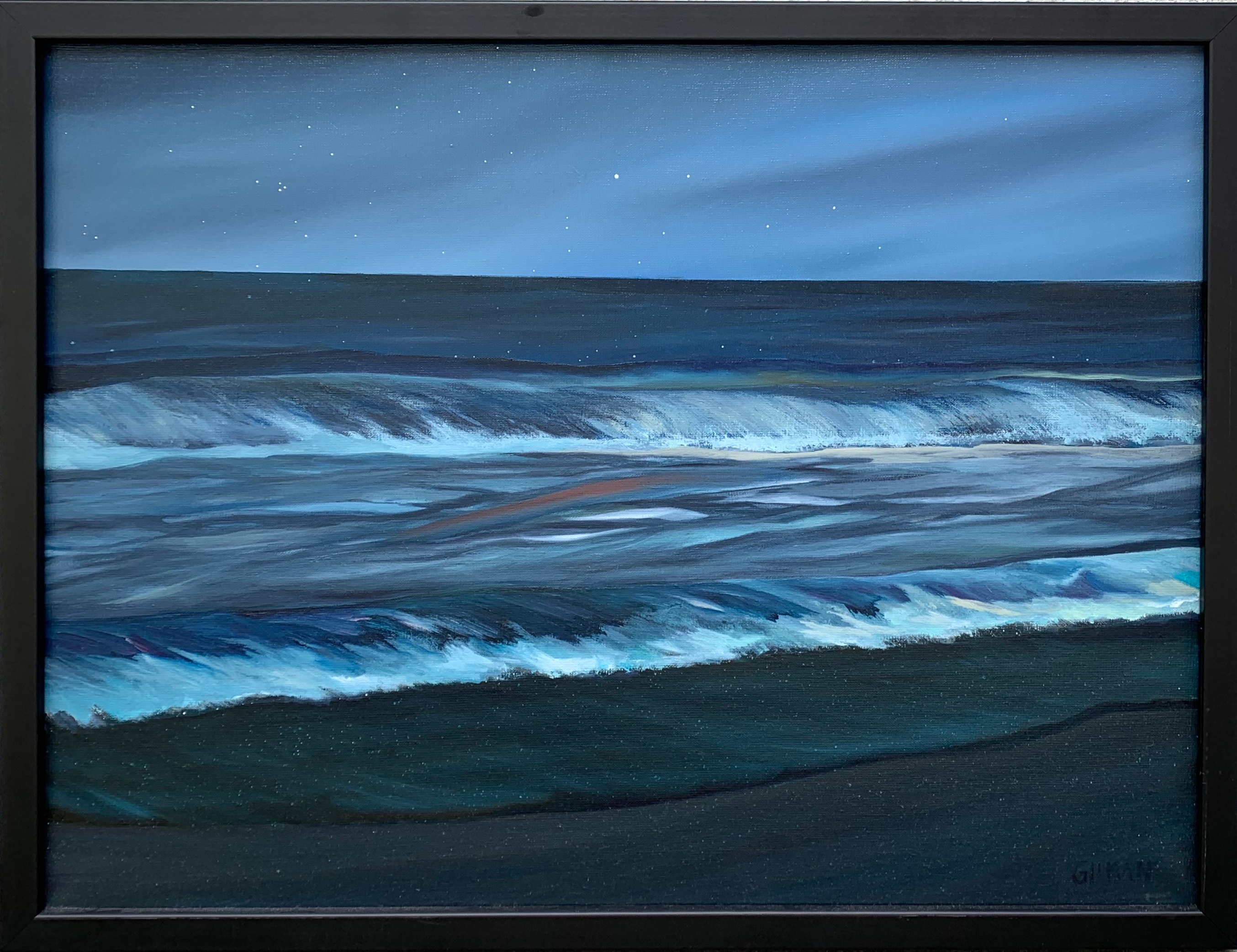 Ocean at dusk   framed ure9ps