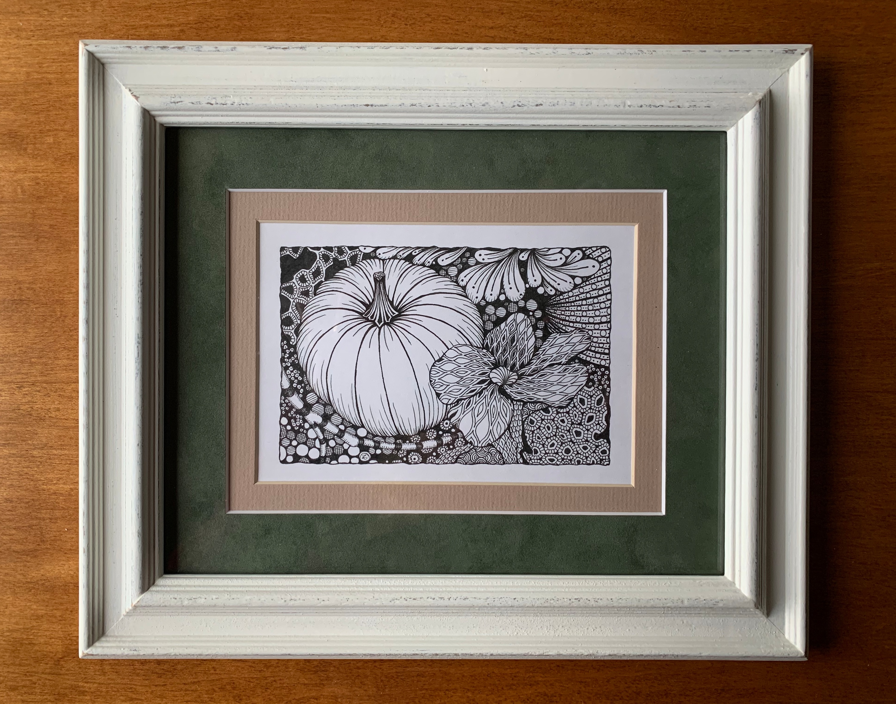 Pumpkin patch  framed original tm3fby