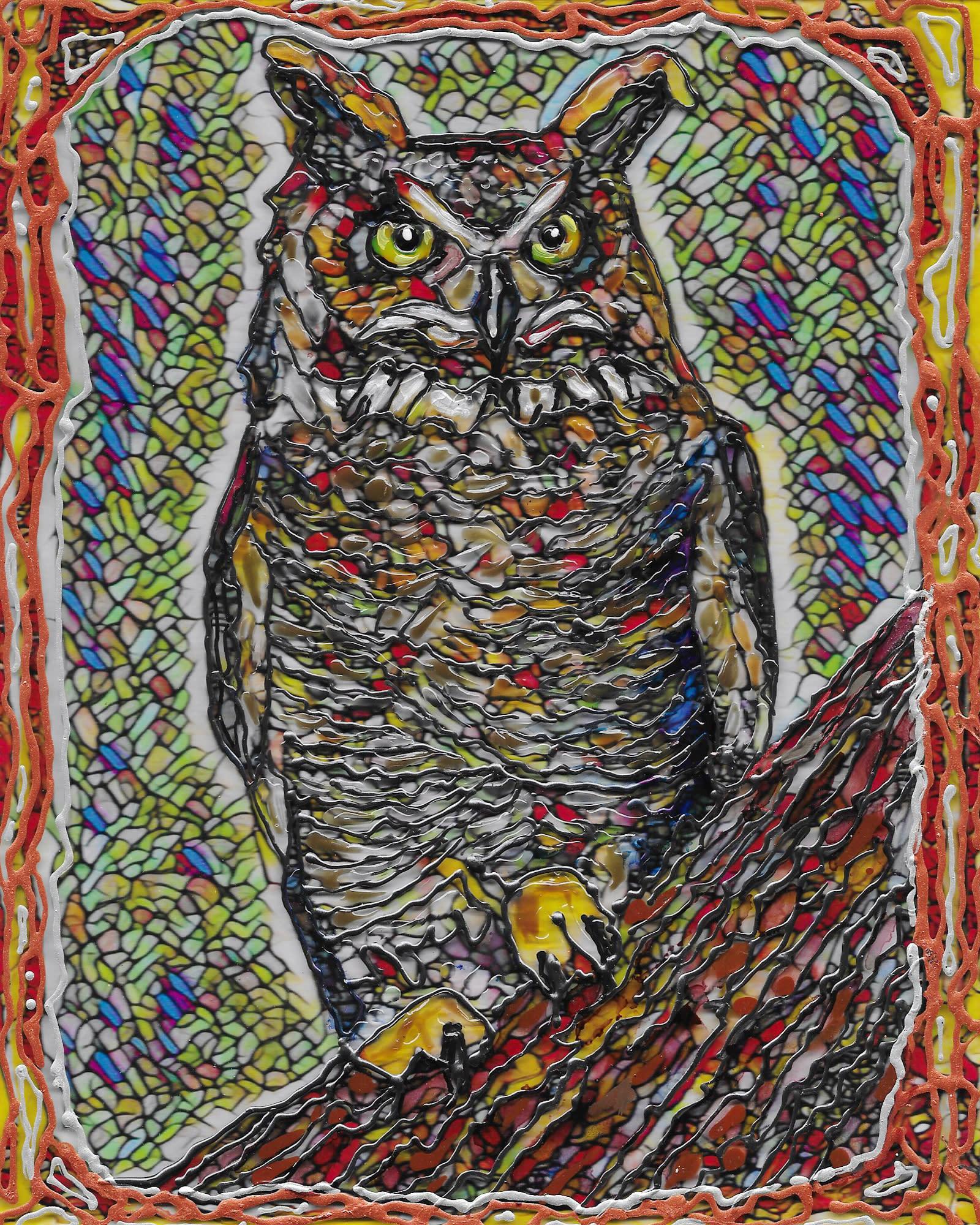 Great horned owl on acrylic slt8jt