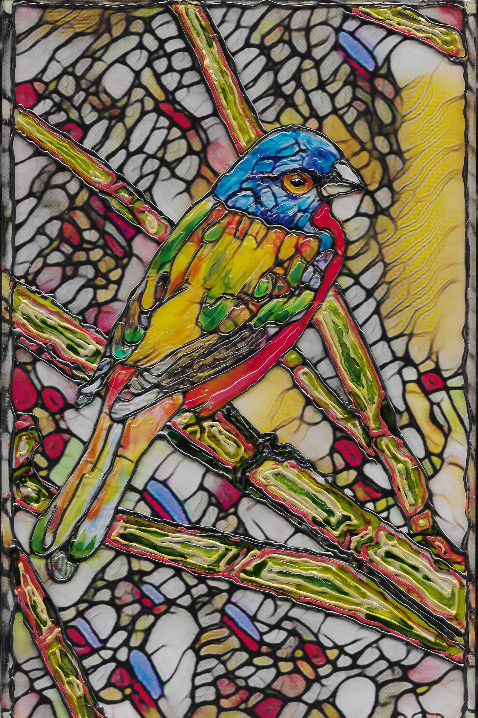 Painted bunting on acrylic ctskmb