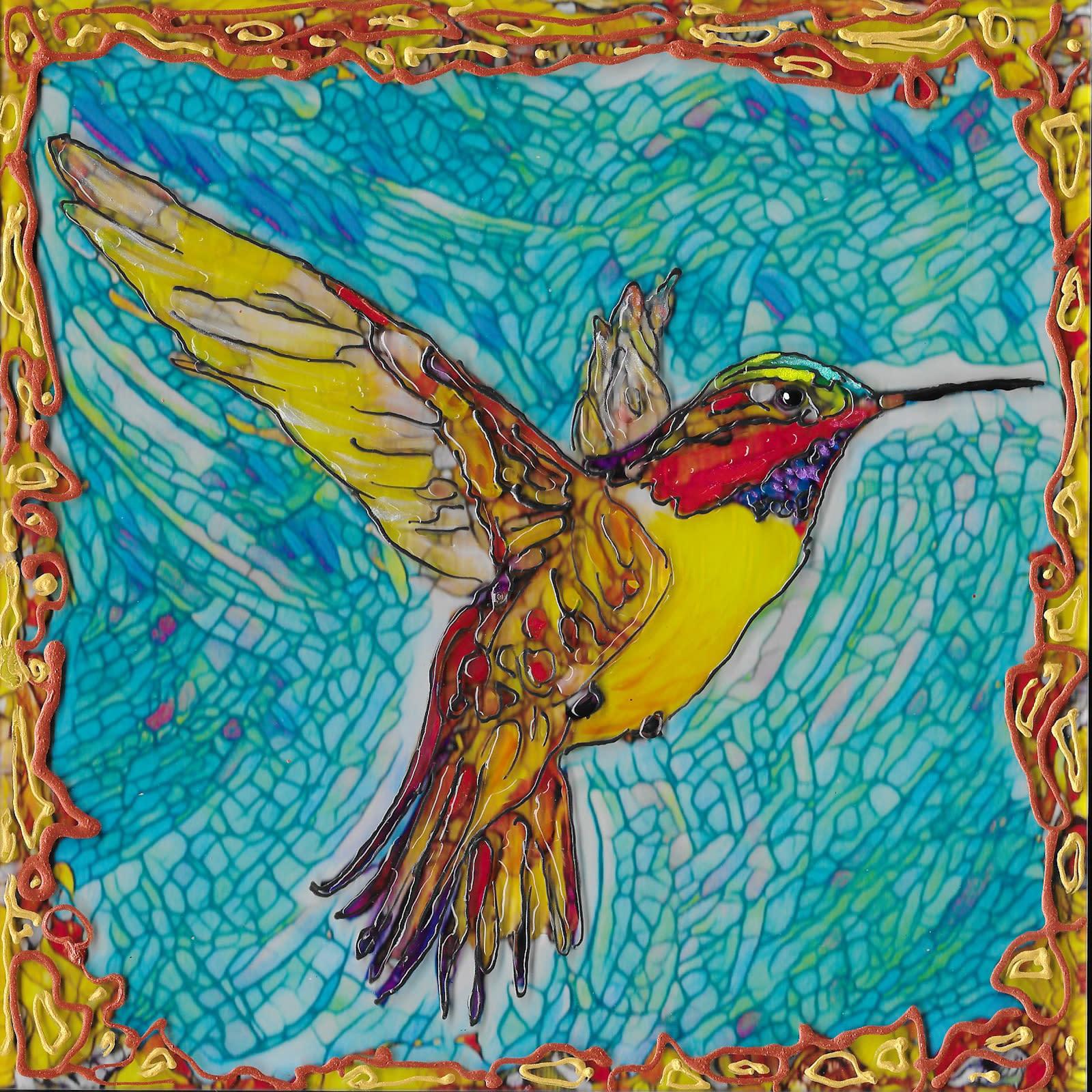 Flying hummer 1 on acrylic cdhv6o