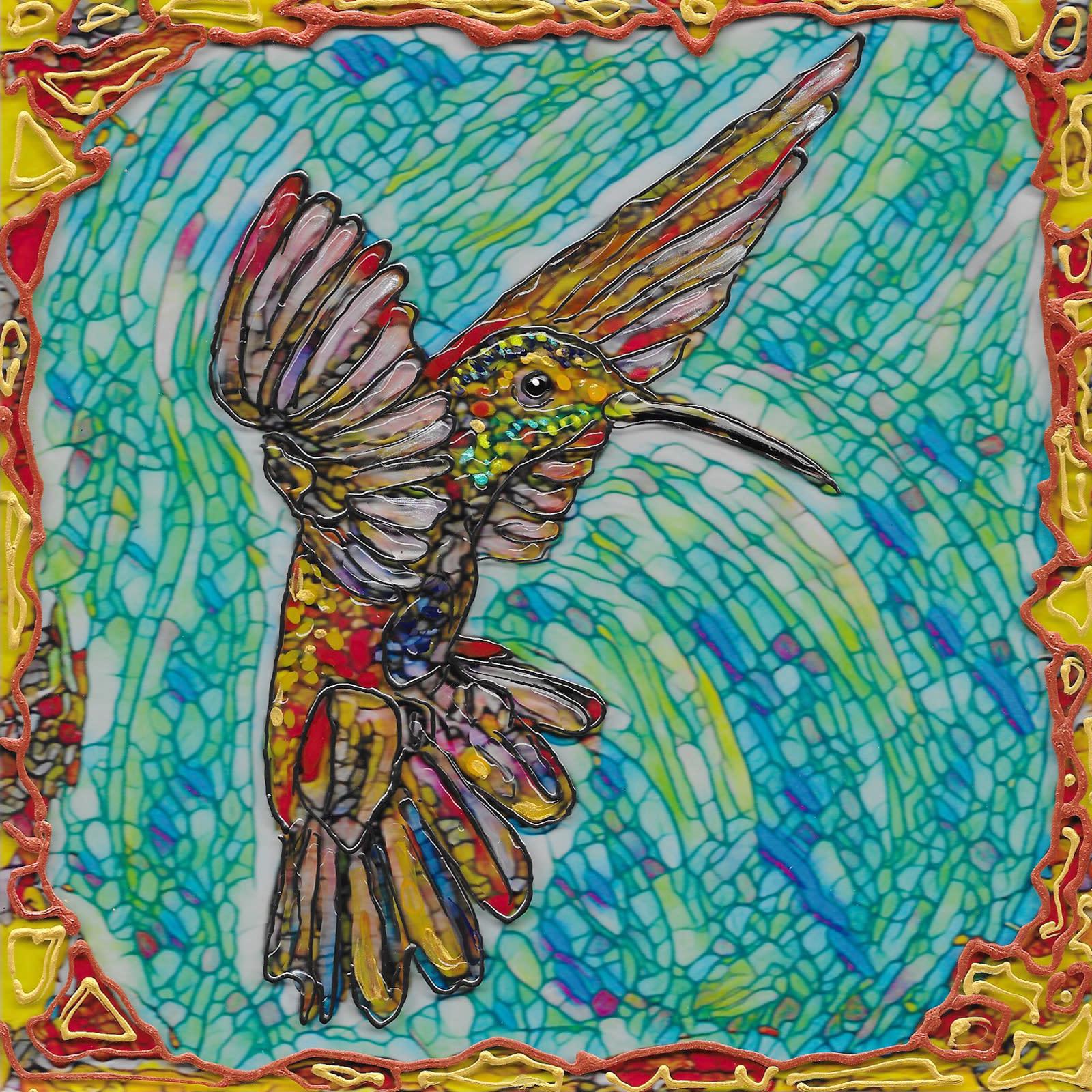Flying hummer 2 on acrylic xodxkr