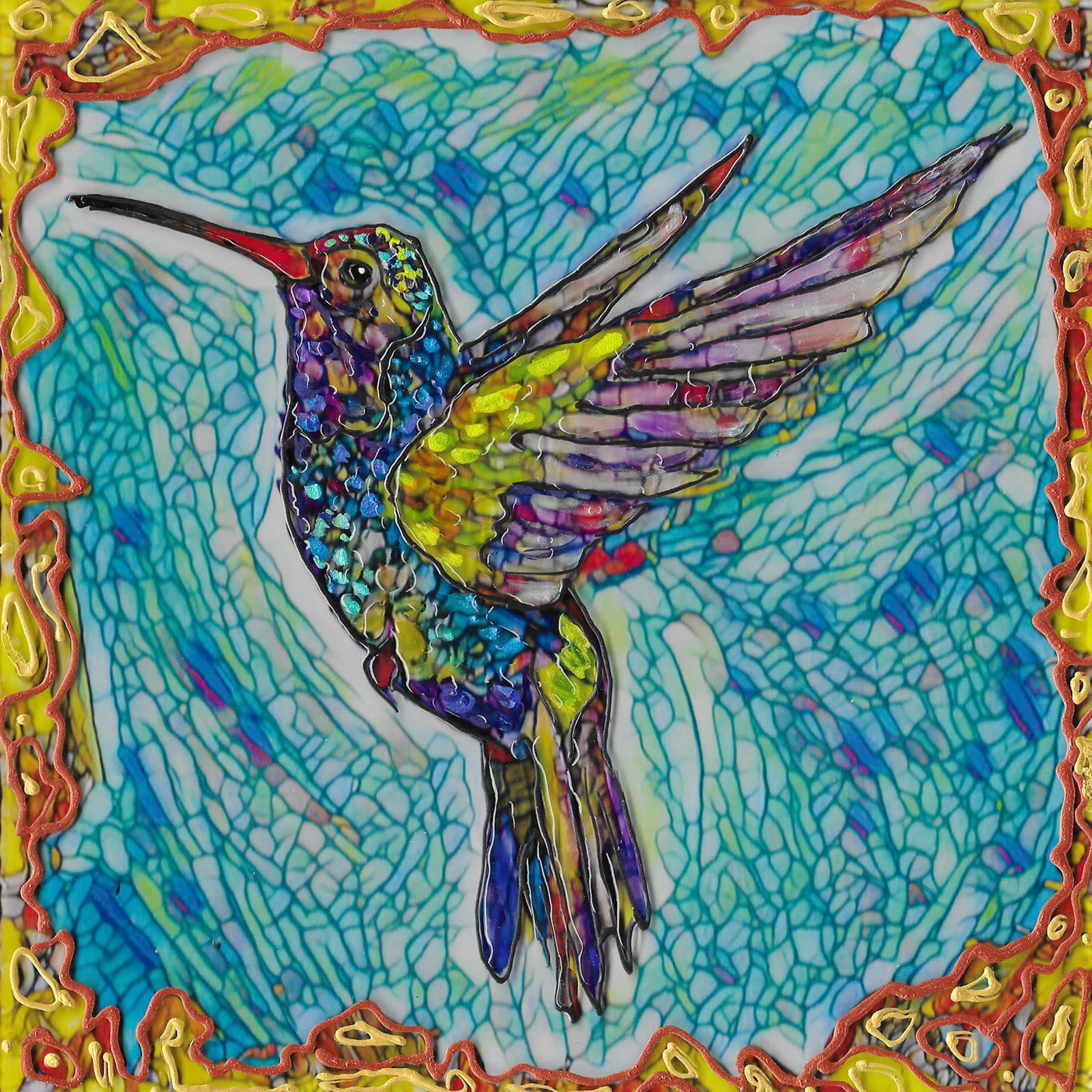Flying hummer 3 on acrylic bxx177