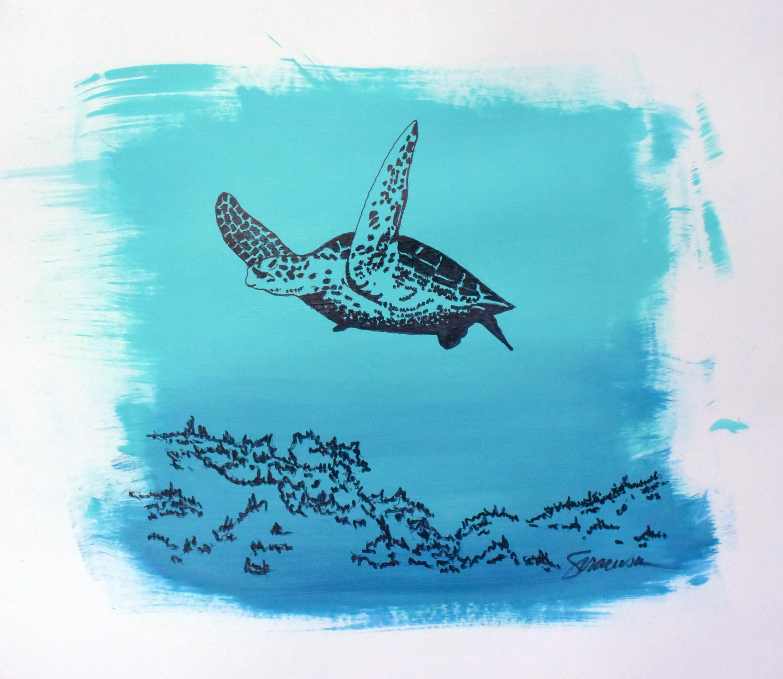 Sea turtle mixed media limited edition print tznbbw