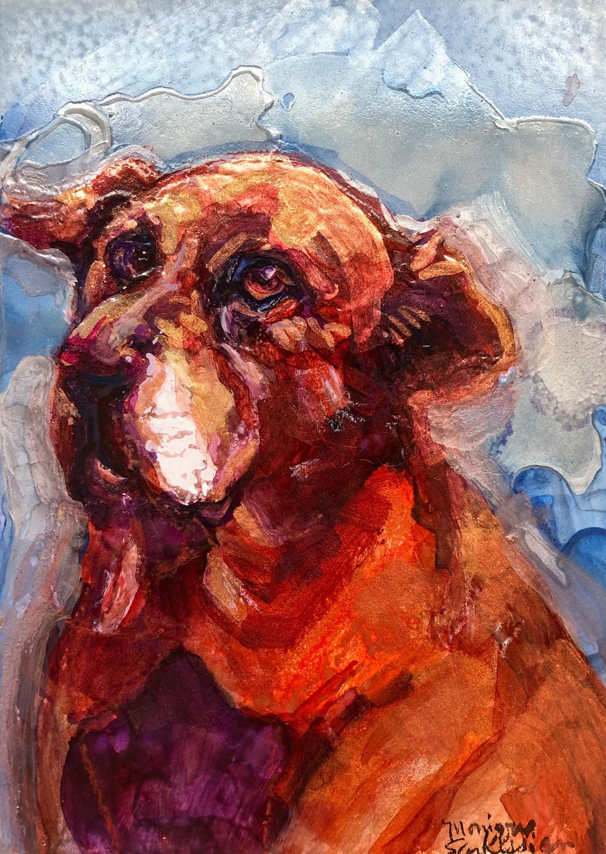 Sue s dog brick alcohol ink on panel 7x5 to6tsu