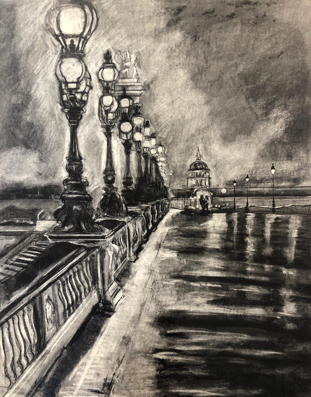 Paris dream 2 charcoal on paper 30x24 u3iona