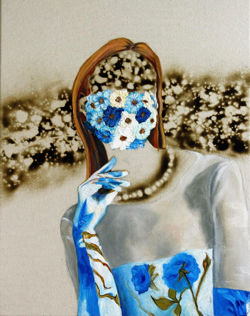Flower mask burn model covid pandemic painting michael serafino wetpaintnyc gallery a2qq7y