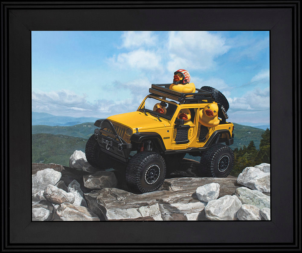 Kevin grass keep on ducking black frame acrylic on aluminum panel painting s3g03s