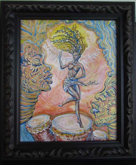 Dancing to the jungle beat 12.x10.5 acrylic canvas   price 750 m7udgi