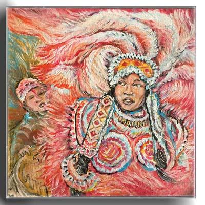 Red mardi gras indian queen 10x10 in acrylic canvas   price 650 dagyev