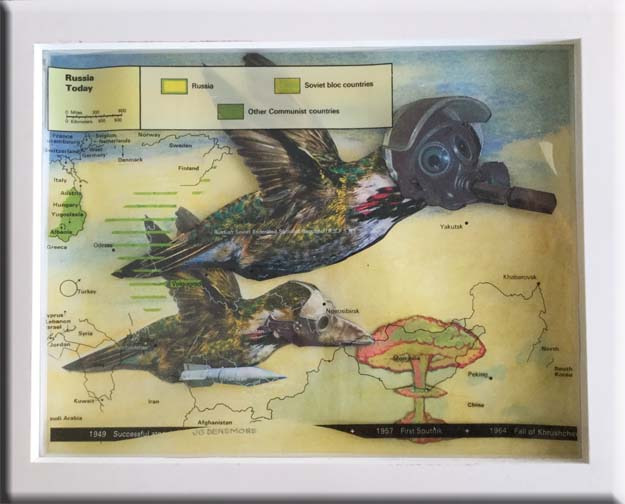 Migratory warfare  collage. 9.5in x 11.5in 350 hr7eaa