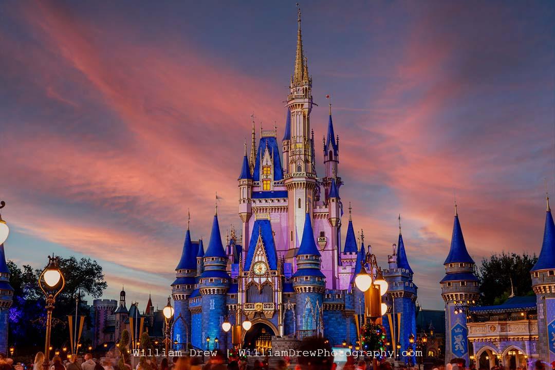 Cinderella castle under a pink sky sm lsgf9o