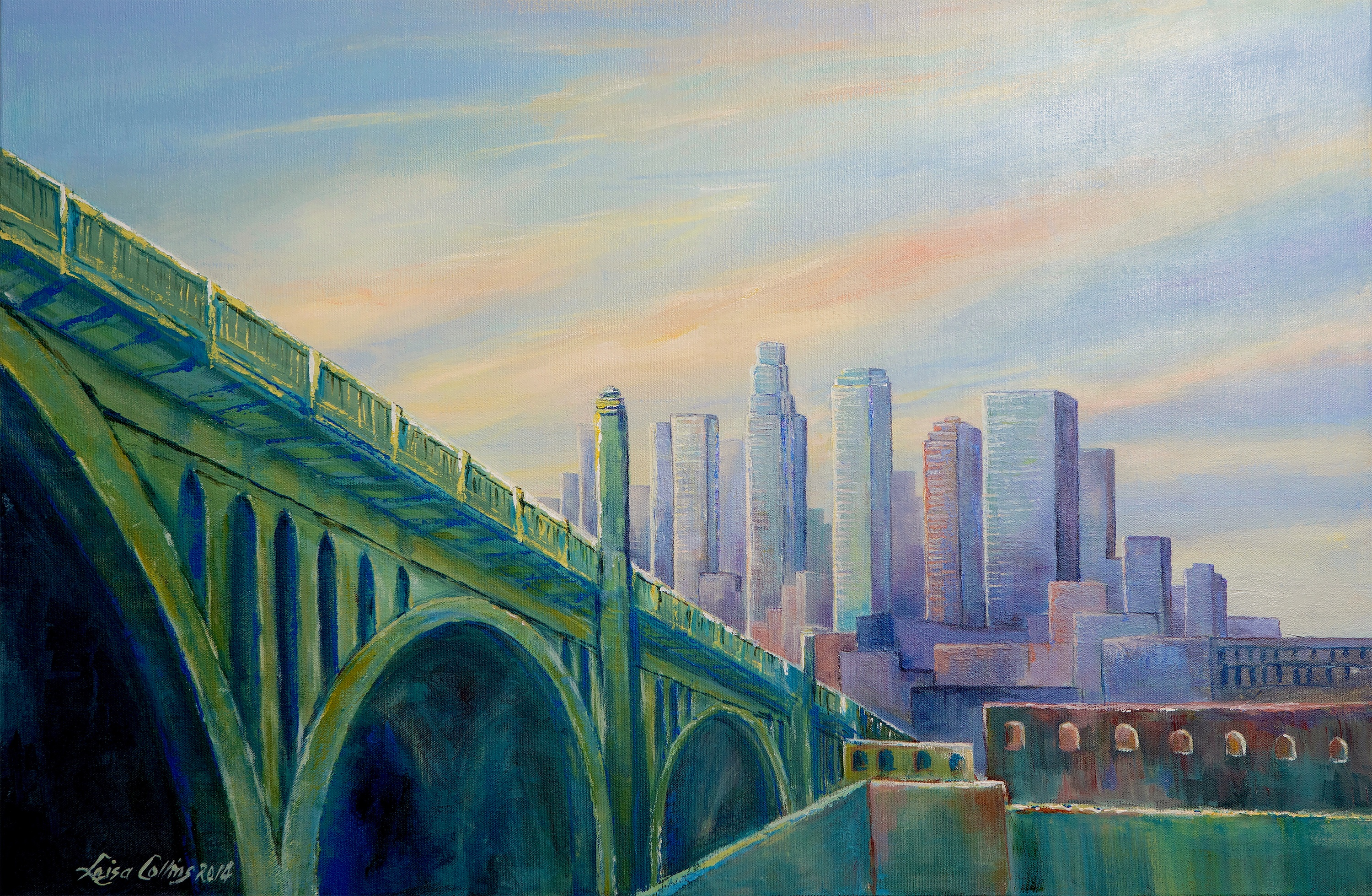 Downtown los angeles cityscape at dawn ryfzvh