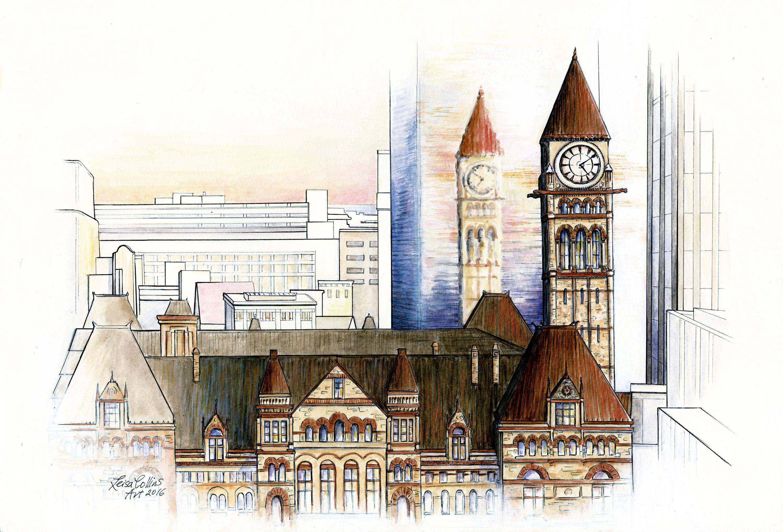 Toronto city scene old and new   original   architectural fusion xc8q6u