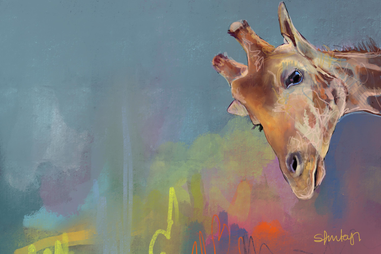 Giraffe high res print 80x60cm nepfyg