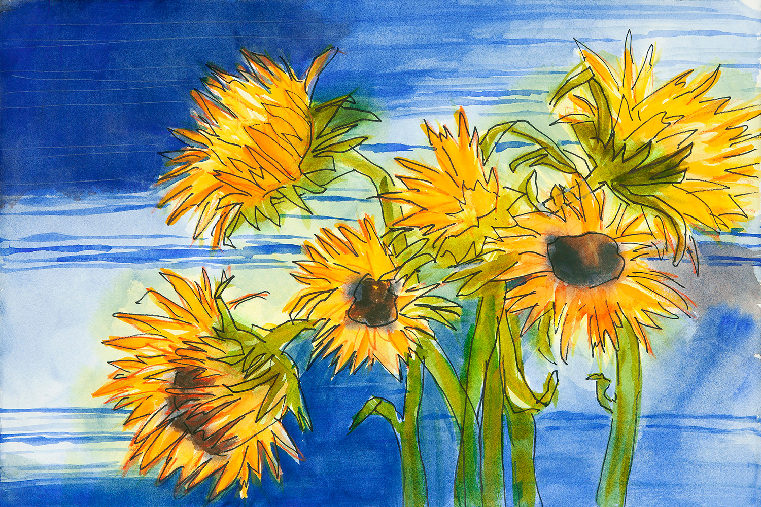 Sunflowers at the lake htvf78