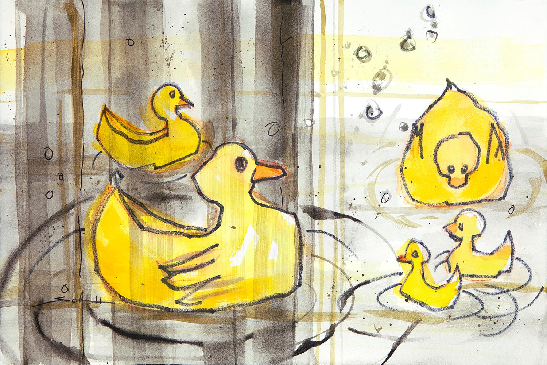 Duckies in bathtub with shower curtain bue2y4