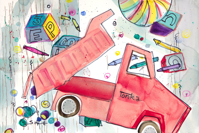 Red tonka truck m5uacj