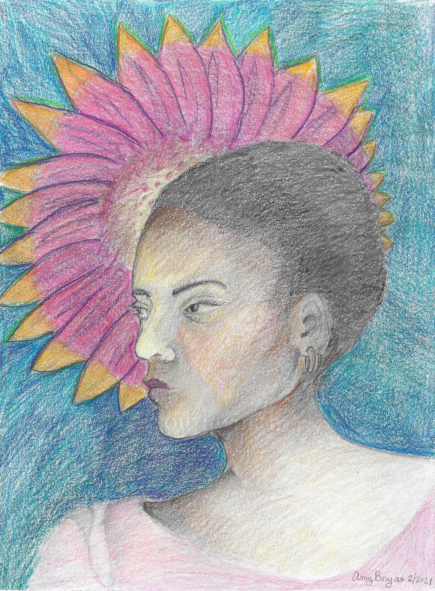 Abryanportrait with pink flower9x12coloredpencil2021 200 avwgun