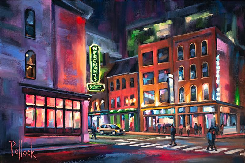 Nashville at Night, original oil on canvas