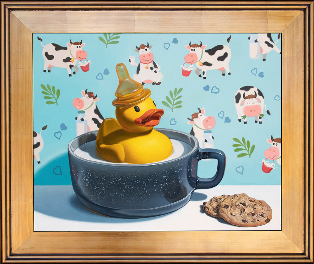 Kevin grass milk duck gold frame acrylic on aluminum panel painting mhnuv8