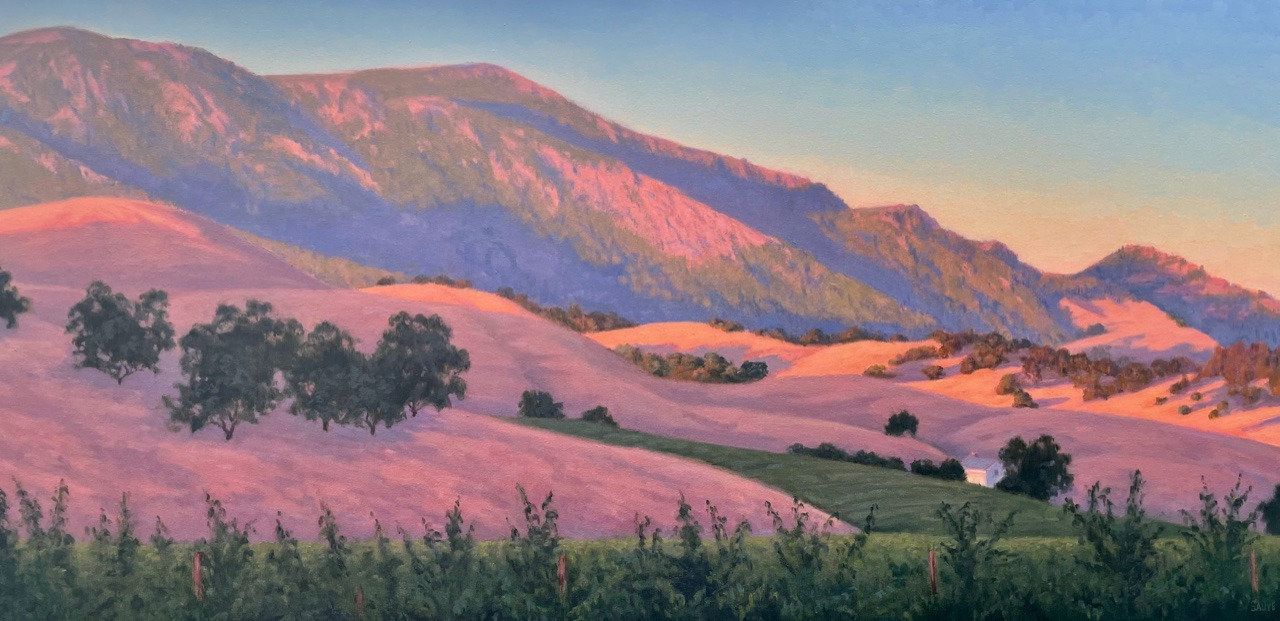 Alexander valley hills aglow over the vineyard 48 x 24 fa6hau