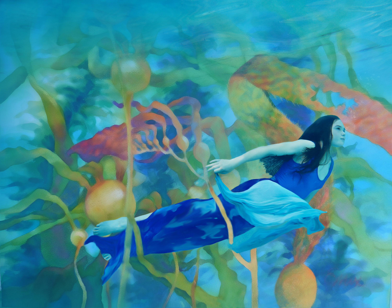 Suzanne barton kaleidoscope kelp .20x24  infused on metal  1300 mwgkkn