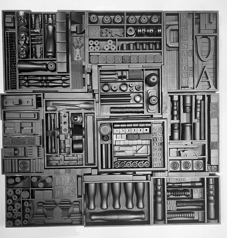 Parallel narrative barbara ziev 48 x 48 wood assemblage matte black 5500. nbvvxh