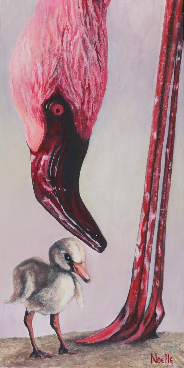 Noelle mccarthy flamingo stand tall acrylic 12x24 475.00 r4j0y3