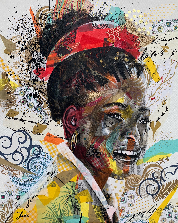 24x30 zabe arts strong women amanda gorman collage painting uvarhy