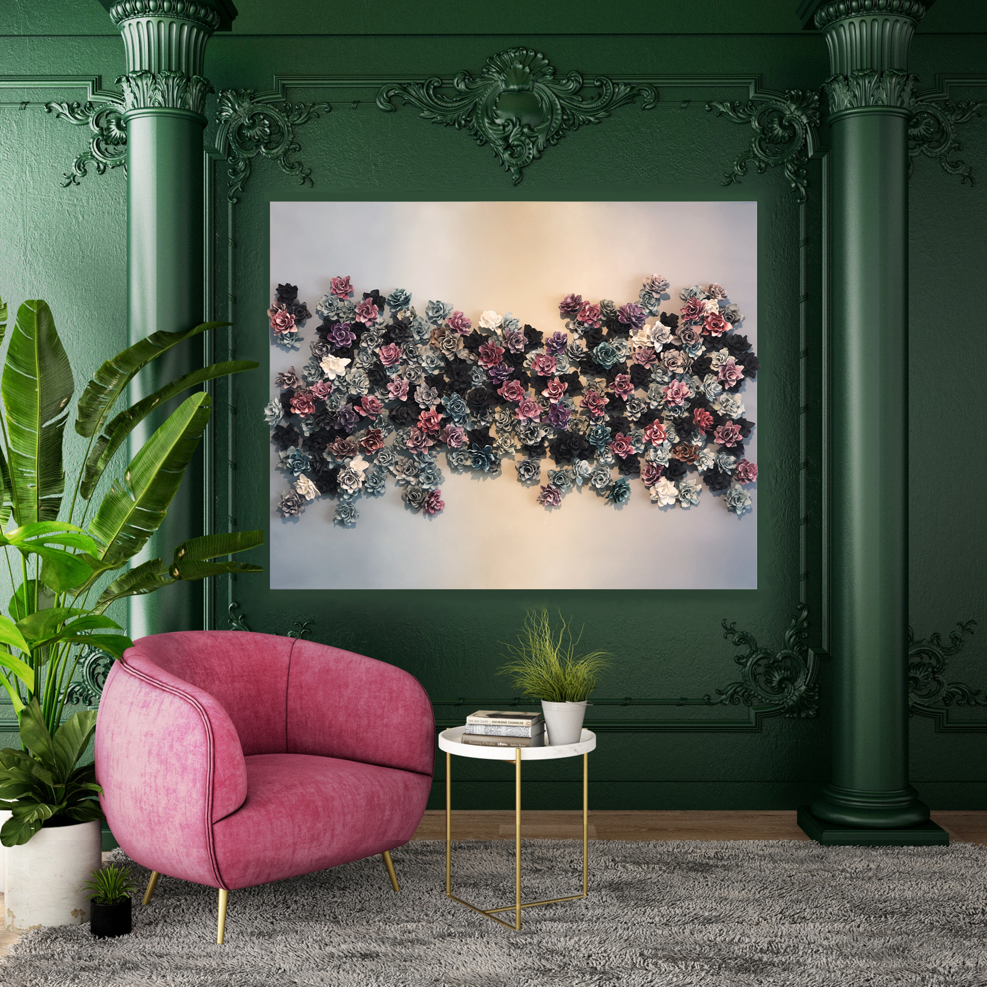 Green wall living room mixed ombre2 n46sfo
