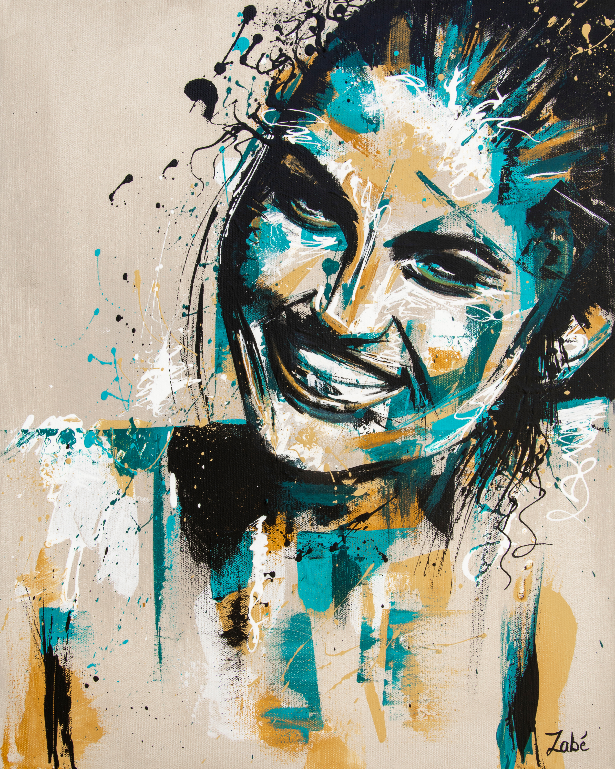 16x20 zabe arts green smile portrait painting uihp2r
