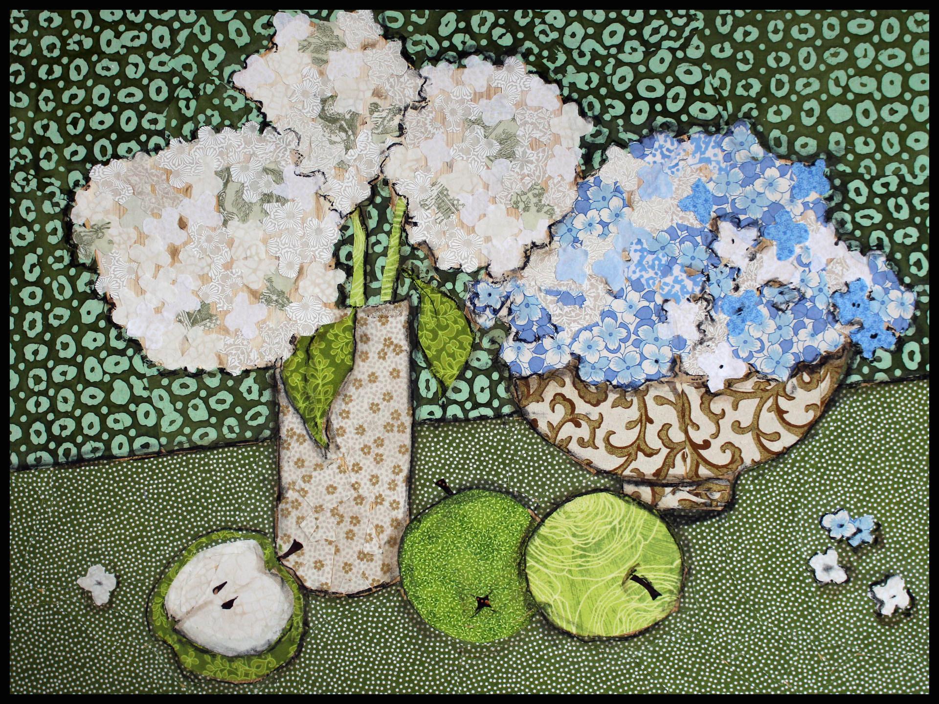 Hydrangea and green apples framed ksfhuu