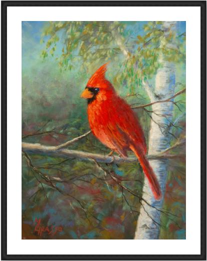 Evening cardinal limited edition 10x12 framed pinefm