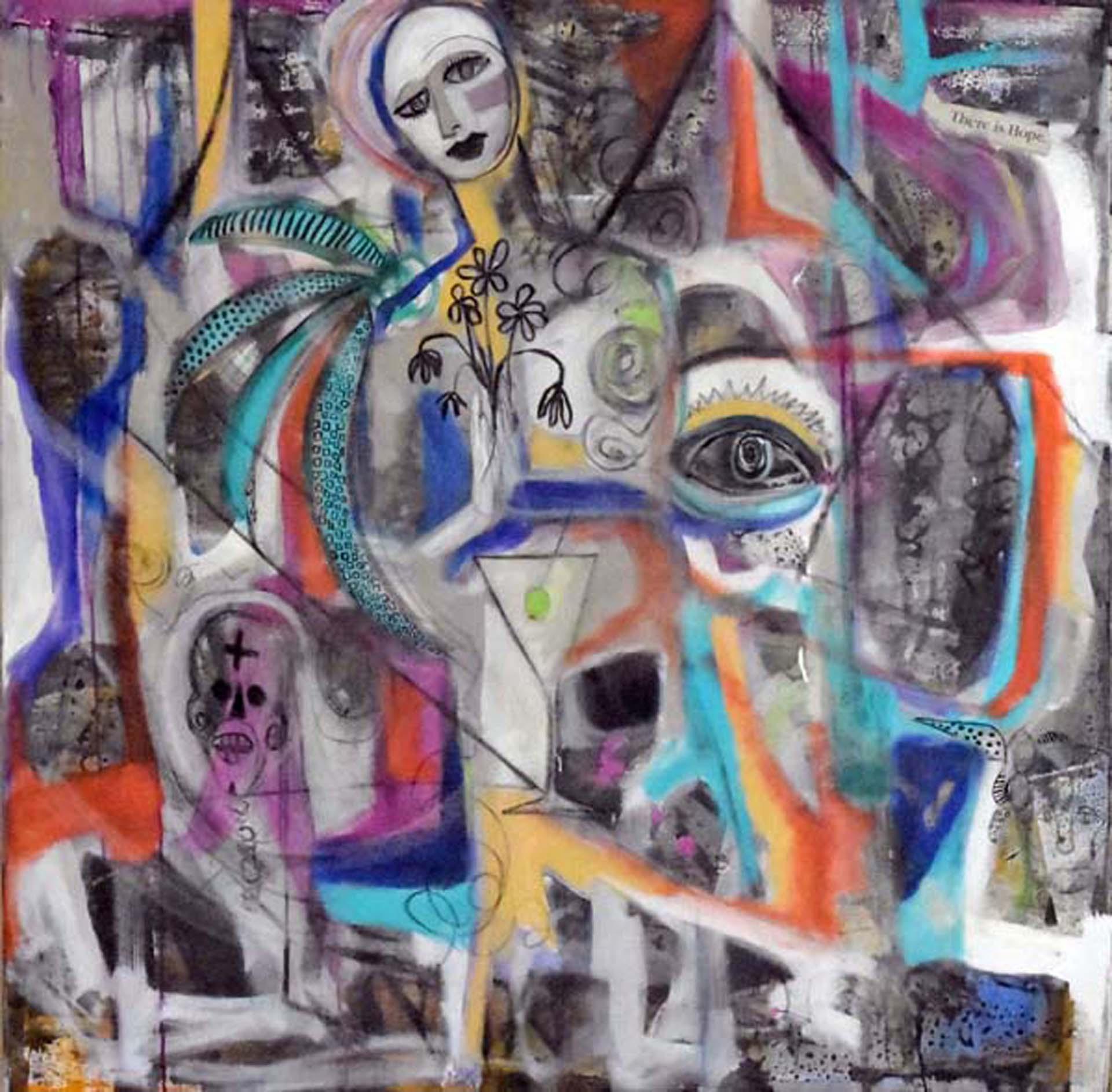 Deveuvealexis street art madonna 50 x50  mixed media on canvas abazdm