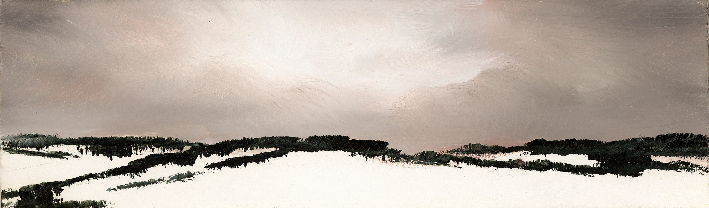 Snowfall from the fall almost no one sees 5 oil on paper 3.25x10 wallace lffmkf